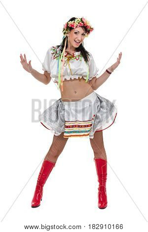 girl in polish national traditional costume posing, full length portrait against isolated white background