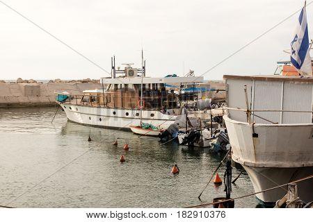TEL AVIV ISRAEL - May 19 2014: Fishing boats in the port of Jaffa