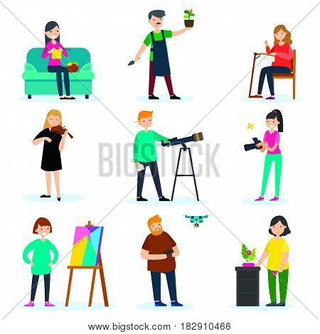 Adult people hobbies set with knitting gardening embroidery music astronomy photography painting aircraft ikebana interests isolated vector illustration
