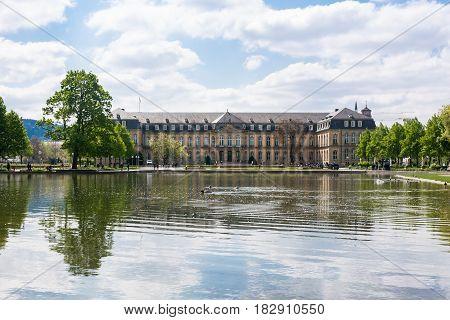 Stuttgart Neues Schloss Over Water Beautiful Spring Day German European Historic Architecture