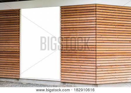 Blank Advertisement Poster Wooden Modern Design Planks Cafe Exterior Large