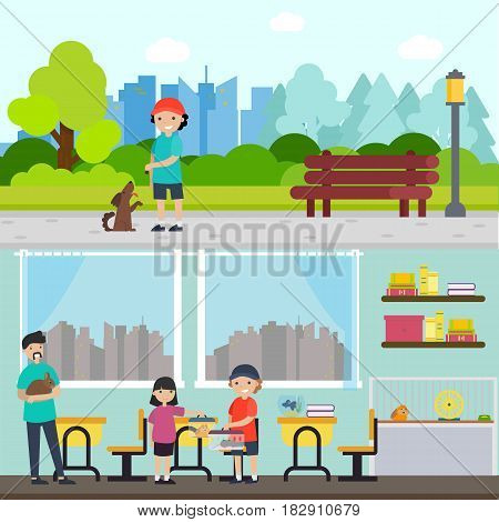 People and animals horizontal banners with boy training dog and children caring about pets vector illustration