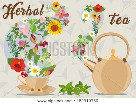 Color vector card with tea cup, tea pot and herbal additives in tea on the background of tea leaves. Herb tea.