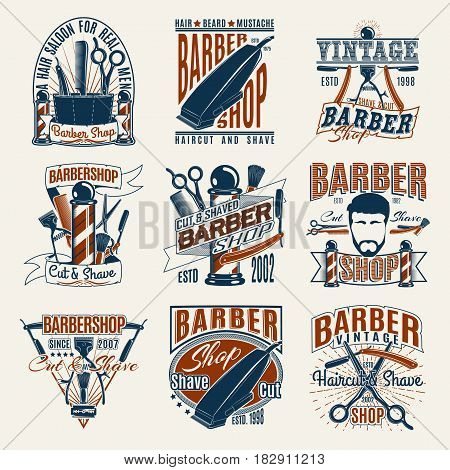Colored vintage barbershop logotypes set with inscriptions hipster head pole haircut accessories and tools isolated vector illustration