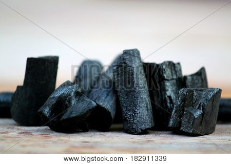 Charcoal. Pile of natural wood charcoal, Wood