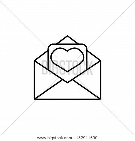 Love letter line icon, mothers day card, envelope with hearth vector graphics, a linear pattern on a white background, eps 10.