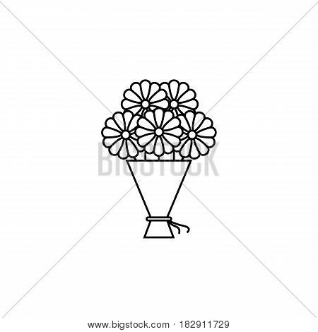 Bouquet of flowers line icon, mothers day, holiday vector graphics, a linear pattern on a white background, eps 10.