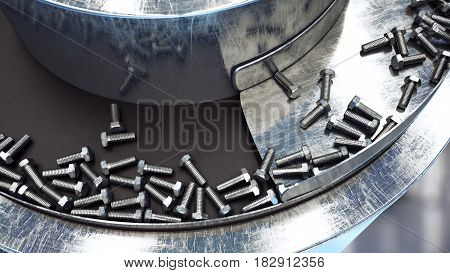 Process of production of bolts. Industrial concept. Factory equipment and macine. Steel. 3d rendering