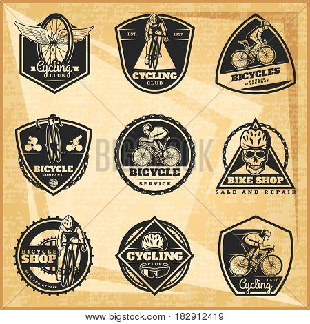 Black biking emblems set with cyclists sport equipment bicycles parts skull on light vintage background isolated vector illustration