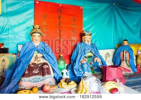 Henan, China - Oct 27 2015: Han Xunshibalongzhong Temple. A Famous Historic Site In Xuchang, Henan,