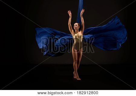 Young pretty female gymnast in gold lingerie exercising on blue aerial silks studio shot