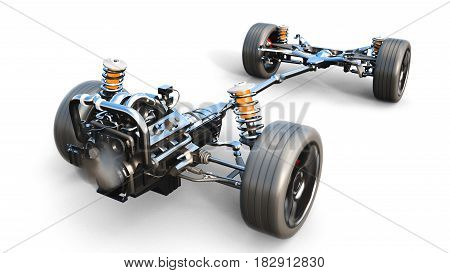 Car chassis with engine on white isolate. 3d rendering