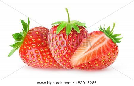 Three Isolated Strawberries