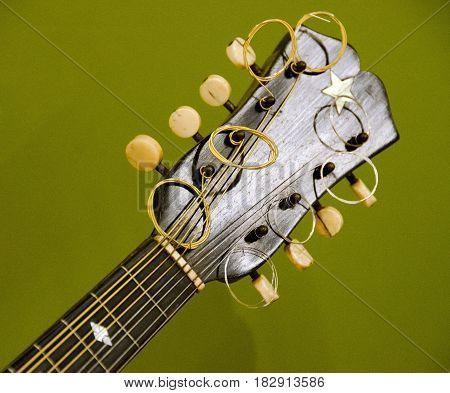 Details Of Headstock Of Mandolin