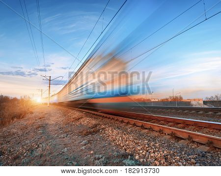 High Speed Train In Motion On Railroad Track