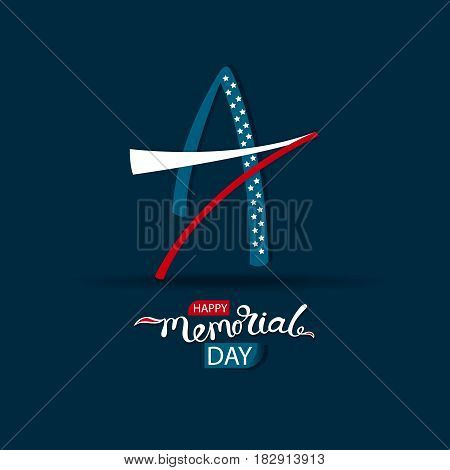 Vector Illustration, Happy Memorial Day, template for design of postcard, banner, flyer for USA, marketing, retail, shop, brochure, signage. Logo star, symbol of America Hand drawing of the lettering.