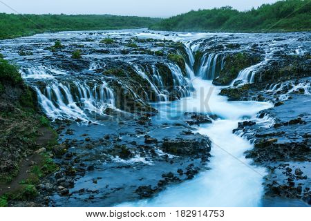Bruarfoss waterfall in summer time. Iceland, Europe