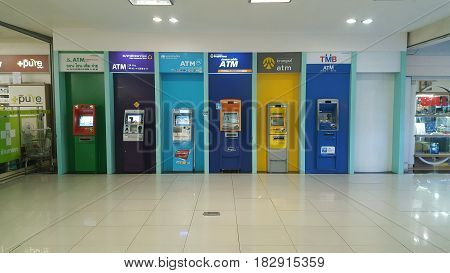 ATM in shopping mall 28-March-2017 : ATM in shopping mall have every bank for service. You can transfer money - deposit - pay for the service. According to bank conditions.