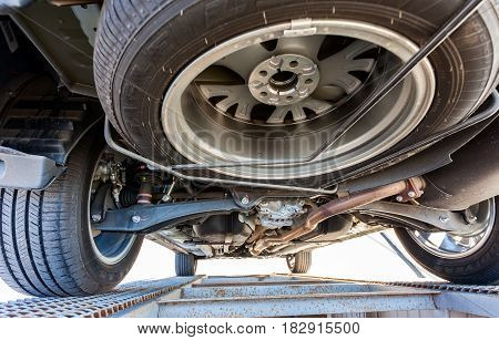 SAMARA RUSSIA - MAY 14 2016: View from the bottom of the car Mitsubishi Outlander. Mitsubishi Motors Corporation is a Japanese automotive manufacturer