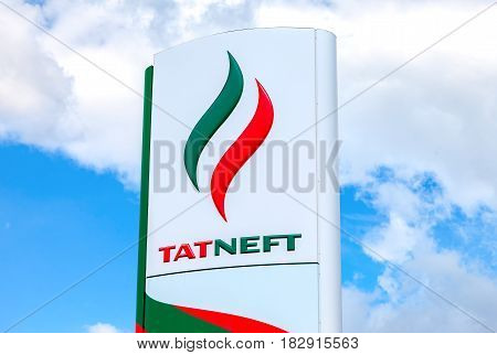 Samara Russia - May 22 2016: Logo of the oil company Tatneft against blue sky. Tatneft is one of the russian oil companies