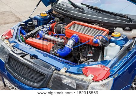 Samara Russia - september 5 2015: Tuned turbo car engine of Lada closeup