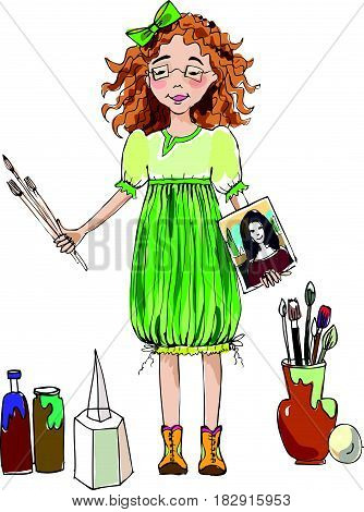 Little girl  with paint, brushes and canvas during the art lesson, character illustration.  Educational concept