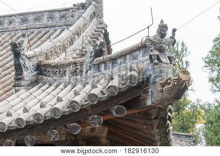 Henan, China - Nov 04 2015: Roof At Huishan Temple(unesco World Heritage Site). A Famous Historic Si