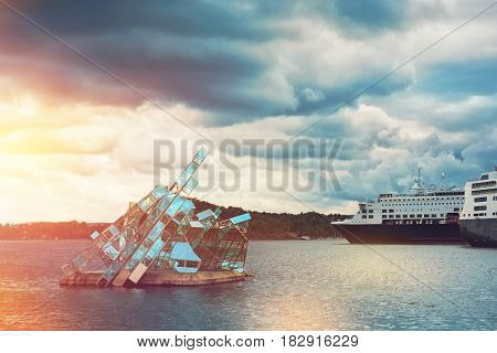 OSLO NORWAY-MAY 19 2016: The floating sculpture in front of the Oslo Opera House namely She Lies made from steel and glass created by italian artist Monica Bonvicini and cruise ships at right side
