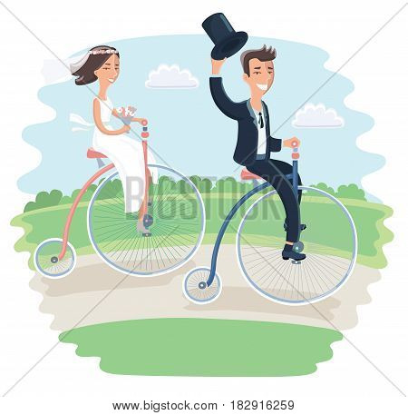 Cartoon vector illustration of wedding couple on tricycles vintage bike riding in park. Just married