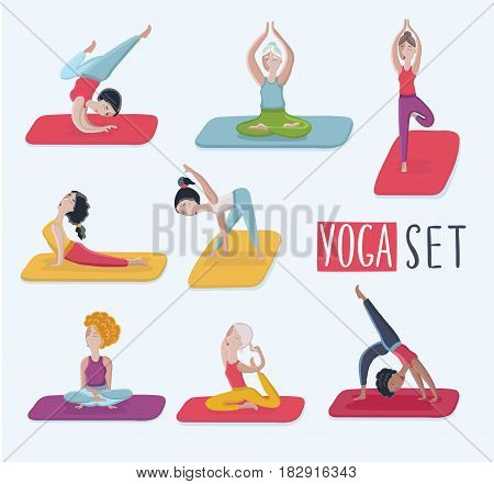 Cartoon set with funny illustration of beautiful different kind of women in various poses of yoga. Exercises, class, center, studio, healthy lifestyle