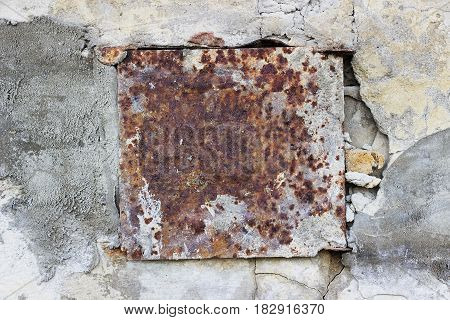 Wall With Old Metal Rusty Square Background.