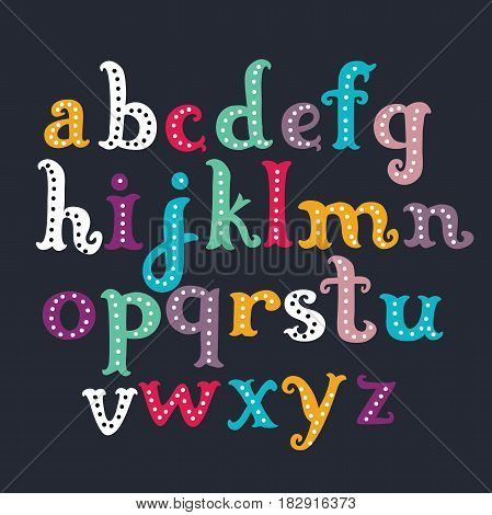 Vector cartoon funny colorful letters font. Hand drawn lowercase ABC on dark background