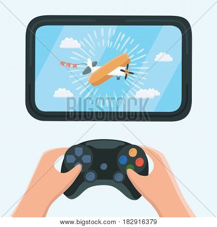Vector illustration of gaming concept. Man holding in hands game pad and playing in airplanes videogame. Close up view