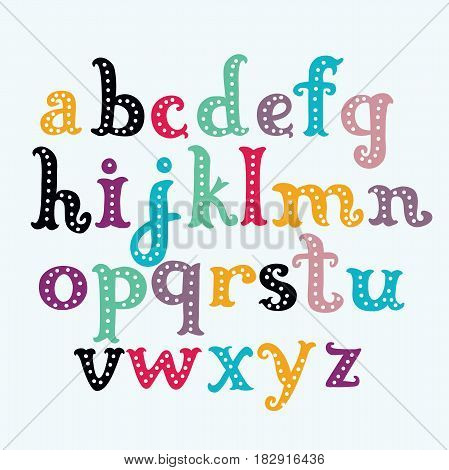 Vector cartoon funny colorful letters font. Hand drawn lowercase ABC