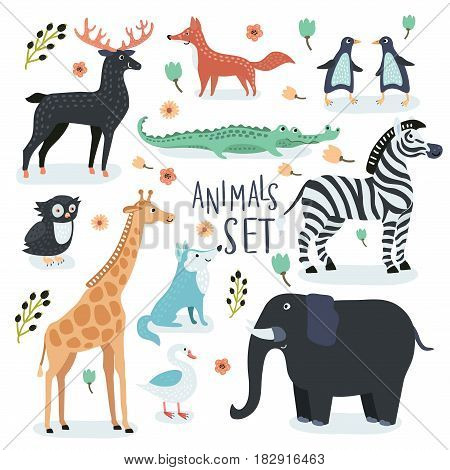 Vector set of cartoon illustrations of cartoon funny cute animals in vintage color