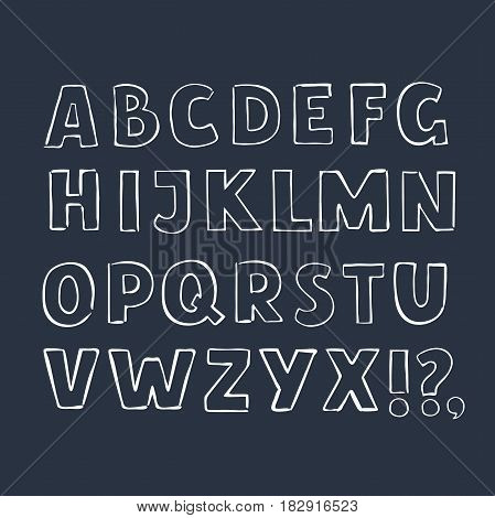 Vector outline cartoon vintage letters. Latin hand drawn font in bold style. White outline capital letters on a dark background