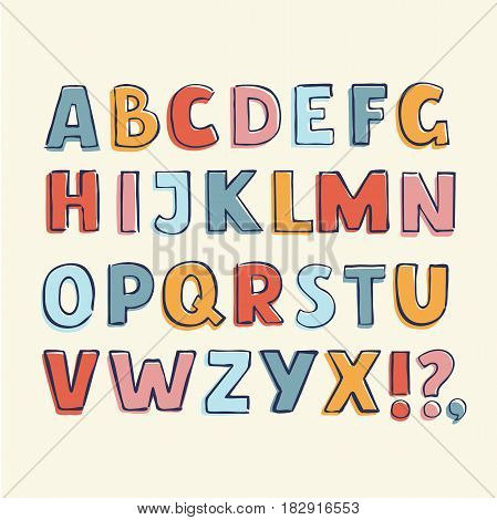 Vector funny cartoon illustration of hand drawn childish hand drawn outline latin alphabet