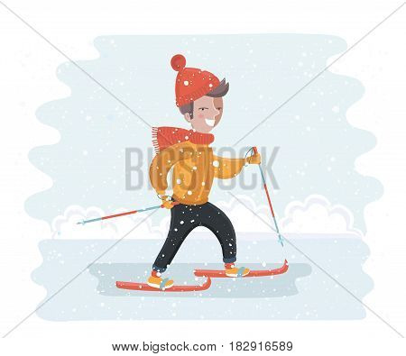 Vector cartoon funny illustration of cute smiling boy skiing on snowy outdoor winter background