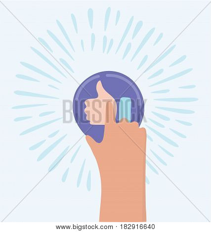 Vector funny cartoon illustration of hand push like icon of thumbs up. Unusual picture