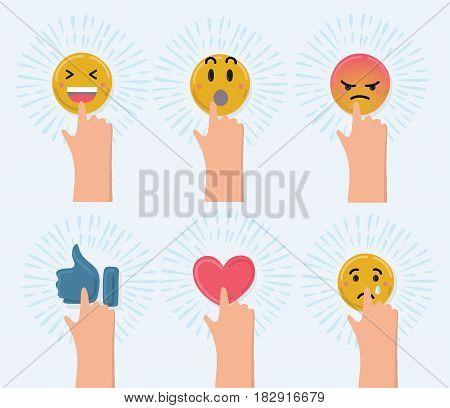 Vector cartoon funny illustration of set of cute smiley emoticons, emoji . Hand push icon. Dynamic veiw