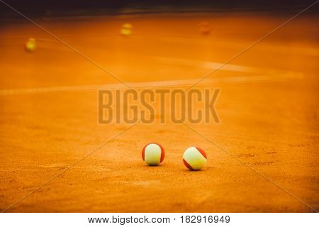 Tennis Red Ball On A Clay Tennis Court Orange Color