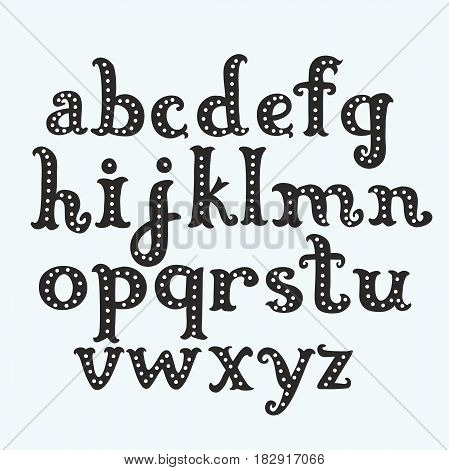 Vintage fun cartoon black lower case decorated with dots vector letters on white background. English hand drawn alphabet