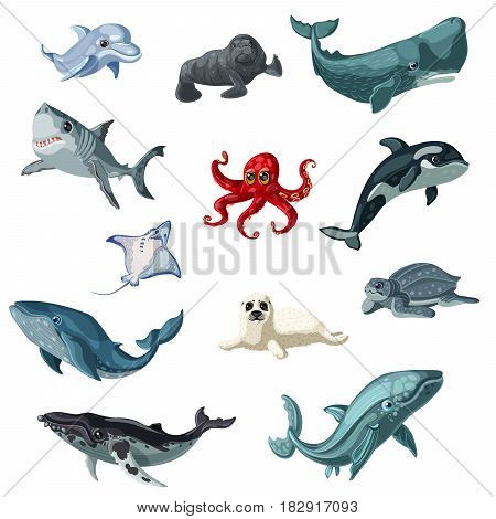 Cartoon colorful underwater animals set with creatures living in sea and ocean isolated vector illustration