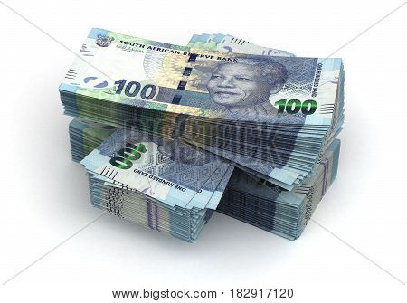 Stack of South African Rand (isolated with clipping path) 3D Rendering