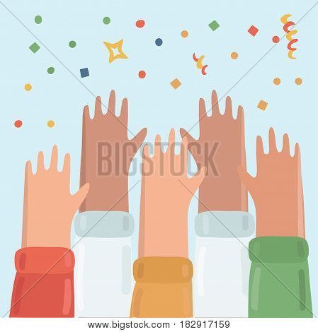 Vector illustration of many hands raised up. People celebrate the fest. confetti, streamers, firecrackers, stars above