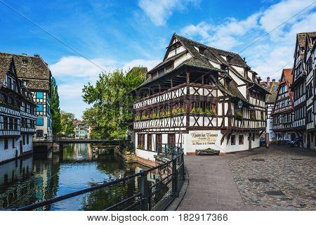 STRASBOURG (FRANCE) - 13 April 2017: Petite France historic quarter of the city of Strasbourg in Alsace, eastern France