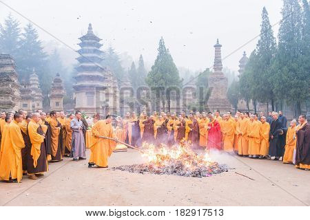 Henan, China - Nov 12 2015: Tomb Sweeping Ceremony In Talin(buddhist Pagoda Forest), Shaolin Temple(