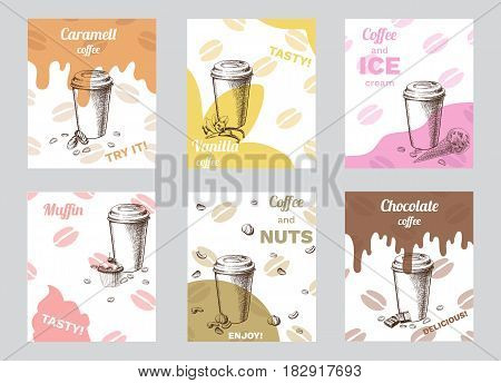 Vintage coffee brochures with chocolate nuts vanilla ice cream caramel candies and muffin isolated vector illustration