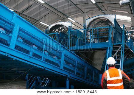 Waste processing plant. Technological process. Recycling and storage of waste for further disposal. Business for sorting and processing of waste.