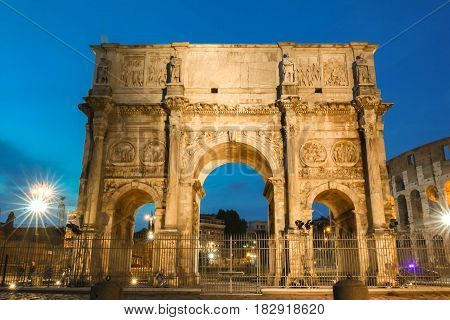 Night view of Arch of Constantine , Rome, Italy.